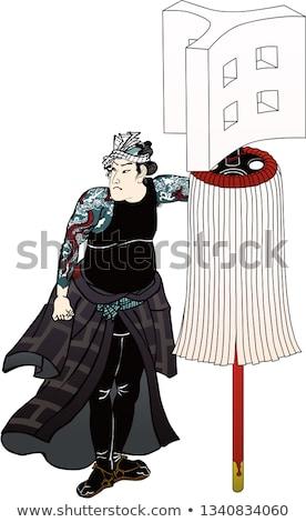 Samurai with two swords in vector, old engraving Stock photo © Romasan