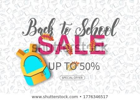 Back to School Title Texts with Globe label. Vector illustration. Stock photo © khabarushka