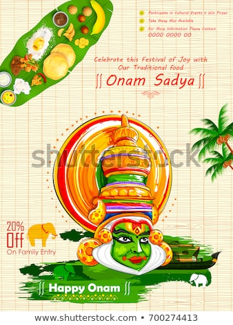 Happy Onam. Food for hindu festival in Kerala Stock photo © orensila