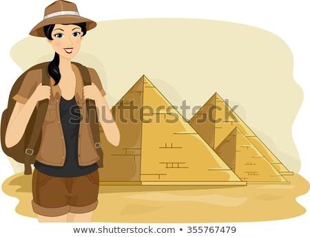 пирамидами · Гизе · Египет · облака · пустыне - Сток-фото © adrenalina