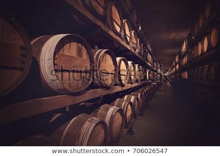 Stockfoto: Hout · wijn · vat · bril · fles · houten