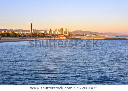 Barcelona · panorámakép · kilátás · város · mediterrán · tenger - stock fotó © frimufilms