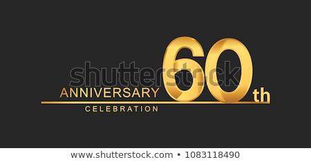 Stok fotoğraf: 60th Anniversary Celebration Badge Label In Golden Color