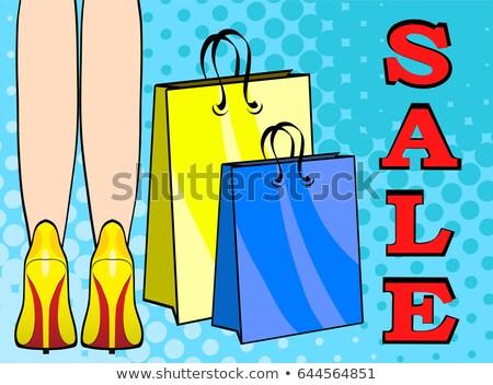pop art female legs in red shoes on high heels comic style stock photo © vasilixa