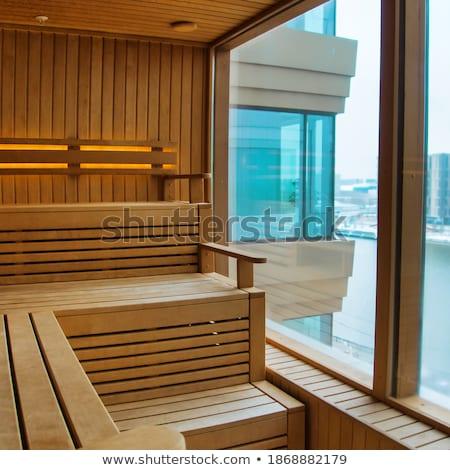 infravermelho · sauna · cabine · lâmpada · banco · barril - foto stock © stevanovicigor
