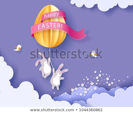 Orange lapin de Pâques origami isolé blanche fond Photo stock © brulove