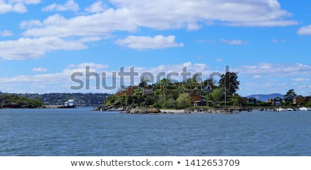 small island with building in Oslo harbor Stock photo © compuinfoto