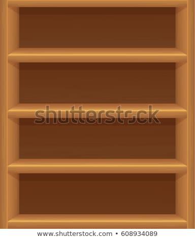 Lege houten boekenplank witte achtergrond rack Stockfoto © make