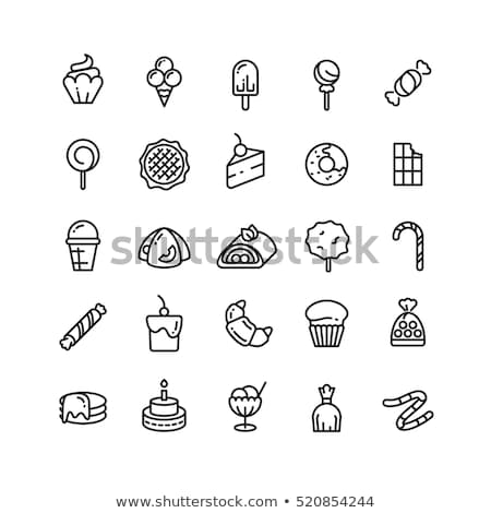 collection of bakery and cake icons candy sweet set stok fotoğraf © barsrsind