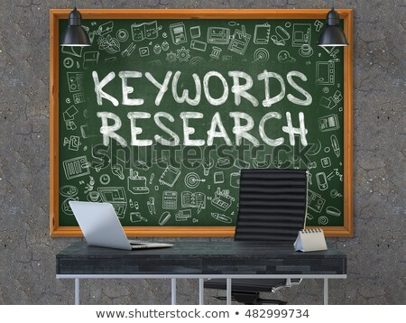 Keywords Research Concept. Doodle Icons on Chalkboard. 3D Render. Stock photo © tashatuvango