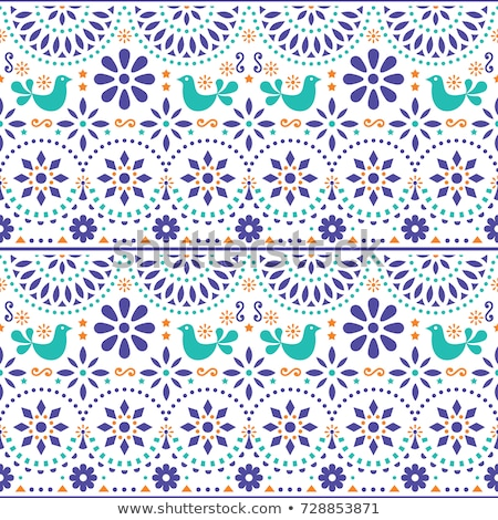 Mexican folk art vector seamless pattern with birds and flowers, colorful fiesta design inspired by  Stock photo © RedKoala
