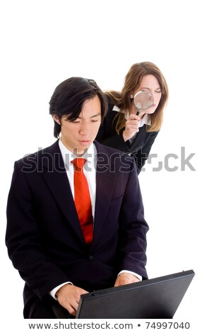 business man cheating stealing shoulder surfing woman stock photo © qingwa