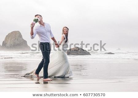 Dreaming romantic model on sea Stock photo © dash
