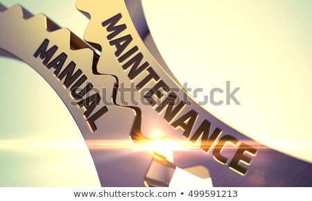 Dourado roda dentada engrenagens manutenção manual 3D Foto stock © tashatuvango