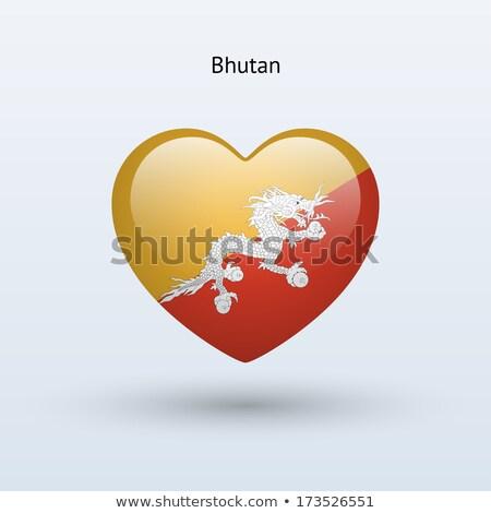Foto stock: Coração · bandeira · Butão · topo · corações · isolado
