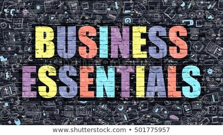 Multicolor Business Essentials on Dark Brickwall. Doodle Style. Stock photo © tashatuvango