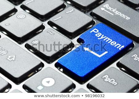 Online banking blu tastiera pulsante dito Foto d'archivio © tashatuvango