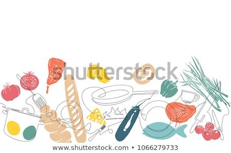 keuken · muur · achtergrond · vork · koken - stockfoto © popaukropa