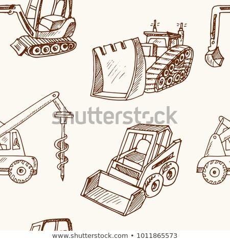 escavadeira · esboço · ícone · teia · móvel · infográficos - foto stock © rastudio