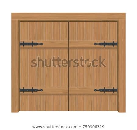 wooden door gate interior apartment closed double door with iron hinges stock photo © andrei_