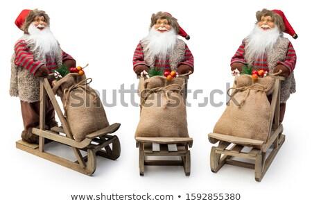 Natal estatueta boneco de neve isolado branco feliz Foto stock © OleksandrO