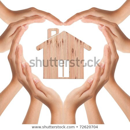 hands make heart shape with wood house stock photo © rufous