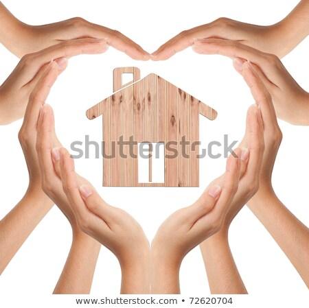 Hands Make Heart Shape With Wood House Stok fotoğraf © SuriyaPhoto