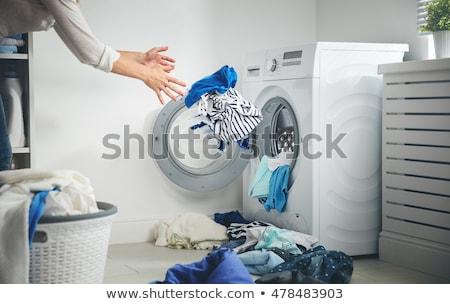 Rövidnadrág kezek szennyes nő mosógép technológia Stock fotó © ssuaphoto