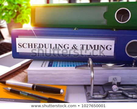 Blue Ring Binder with Inscription Scheduling and Timing. 3d. Stock photo © tashatuvango