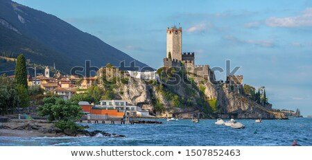 Town of Malcesine castle and beach view Stock photo © xbrchx