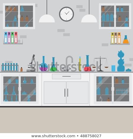 химического · лаборатория · предупреждение · девушки · эксперимент - Сток-фото © vectorikart