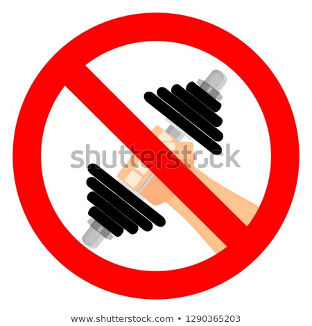 Stop bodybuilding. Ban sport. Prohibiting sign for fitness. Red  Stock photo © popaukropa
