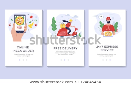 Fast food delivery service poster with courier Stock photo © studioworkstock
