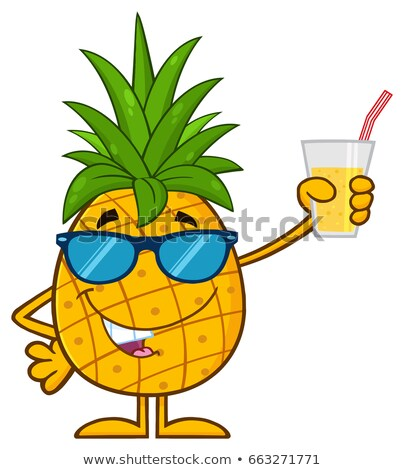 pineapple fruit with sunglasses character holding up a glass of juice stock photo © hittoon