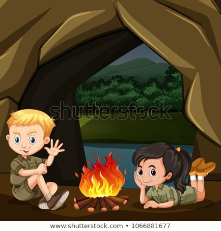 Erkek kız izci orman örnek çocuklar Stok fotoğraf © bluering