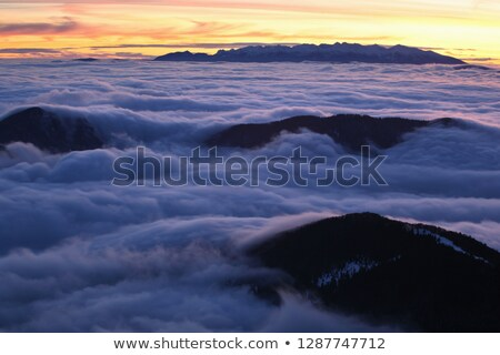 beautiful view on cloudy sky during sunset, Carpathian Mountains, Ukraine Stock photo © LightFieldStudios