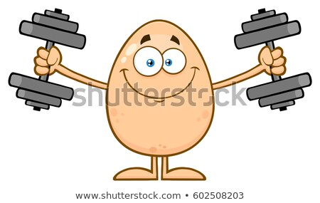 Smiling Egg Cartoon Mascot Character Working Out With Dumbbells Stock photo © hittoon