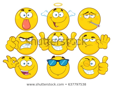 sick yellow cartoon emoji face character with tired expression and thermometer stock photo © hittoon