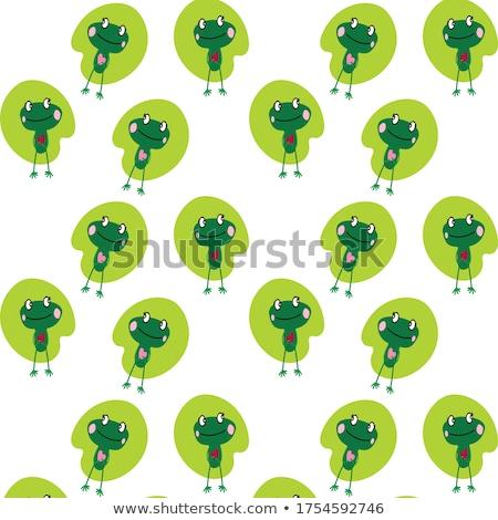 Gülen kurbağa kadın karikatür maskot karakter Stok fotoğraf © hittoon