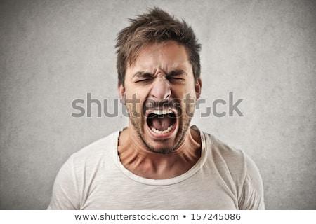 colère · hommes · silhouettes · noir · blanche · Homme - photo stock © laschi