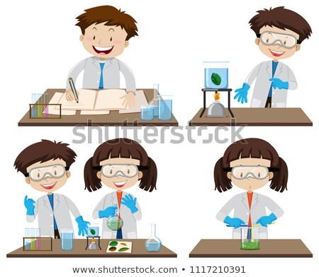 vetor · cientista · líquido · vidro · ciência · branco - foto stock © bluering