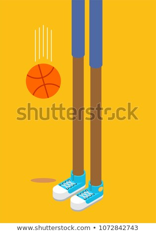 Hosszú lábak kosárlabdázó sportcipők kosárlabda izometrikus stílus Stock fotó © popaukropa