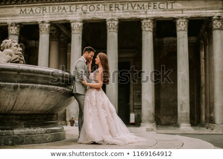 young wedding couple by pantheon in rome italy stock photo © boggy