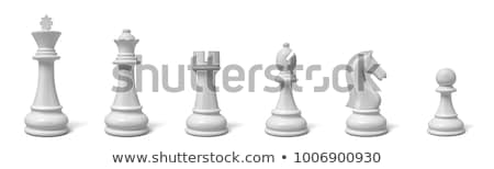 Stock photo: Row of Black and White Chess Pieces