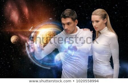 Paar planeet hologram ruimte toekomst technologie Stockfoto © dolgachov