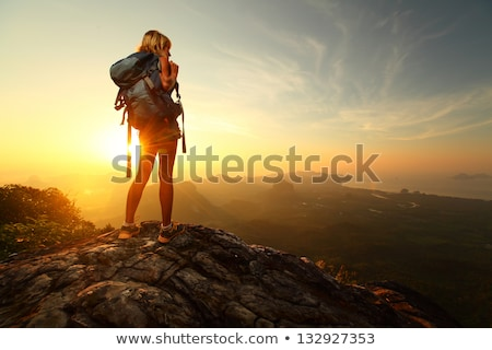 Active woman rock climbing relax with backpack Stock photo © CandyboxPhoto