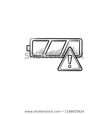 Empty battery with exclamation mark hand drawn outline doodle icon. Stock photo © RAStudio