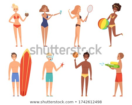 Tanned Girl in Swimsuit Surfboard and Playing Ball Stock photo © robuart