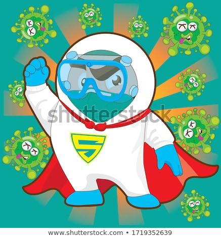 スーパーヒーロー 男 青 緑 病気 セット ストックフォト © toyotoyo