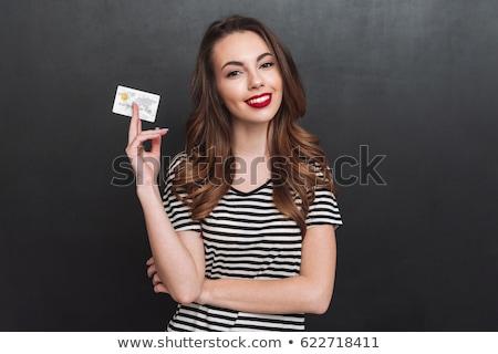 Gyönyörű nő vörös rúzs hitelkártya pénzügyek vásárlás emberek Stock fotó © dolgachov